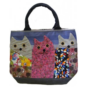 Beautiful Handmade Three Cat Applique Shoulder Bag / Hand Bag - Fair Trade