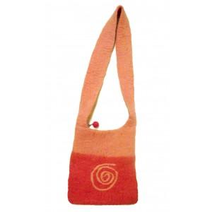 Fair Trade Hand Made Pink Eternal Spiral Felt Shoulder Bag
