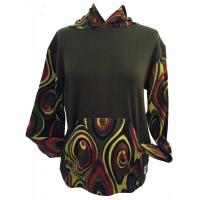 Fair Trade Green Jersey Cotton Retro Spiral Ladies Hoodie