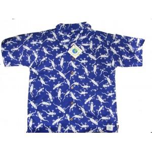 Boys Blue & White Gecko Design Short Sleeve Shirt Ages 1 - 5 - Fair Trade