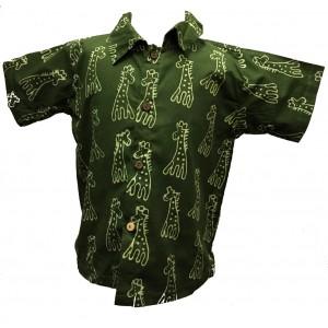 Boys Dark Green Classic Giraffe Design Short Sleeve Shirt Ages 1 - 5 - Fair Trade