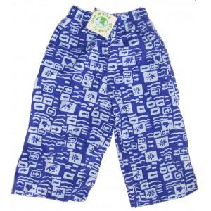 Kids Colourful Cotton Elasticated Children's Blue Ocean Print Trousers - Fair Trade