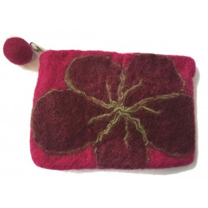 Extra Large Felt Flower purse - Handmade - 100% wool - various colours - Fairtrade
