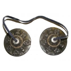 Eight Auspicious Signs Tibetan Buddhist Tingsha ( Buddhist cymbals) with satin carry bag  - Fair Trade
