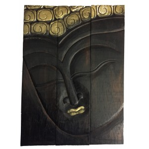 Beautiful Hand Carved Mahogany Wood Thai Buddha Triptych / 3 Piece Panel Wall Art - Fair Trade