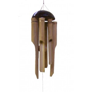 Small Bamboo Wind chime / Windchime for indoor and outdoor use, longest chime 12 inch / 30 cm - Fair Trade