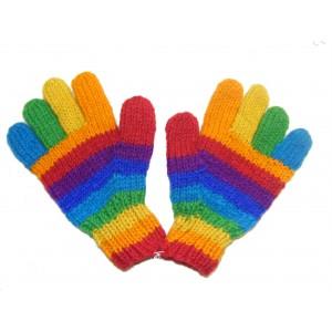 Fair Trade Handknitted Woollen Rainbow Gloves