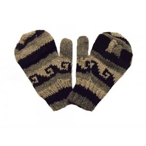 Fair Trade Handknitted Woollen Black and White  Tibetan Design Fingerless Gloves with Mitten Cover
