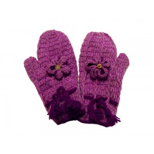 Handknitted Soft Wool Purple Flower Design Fleece Lined Mittens - Fair Trade - 100 % Wool