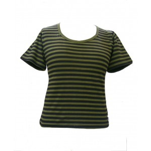 Fair Trade 100% Cotton Classic Stripey Olive Green / Black Ladies Fitted T Shirt