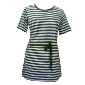 100% Cotton Classic White & Green Stripey Dress - Fair Trade
