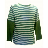 Fair Trade 100% Cotton Classic Stripey Green / Grey Mens Long Sleeve T Shirt
