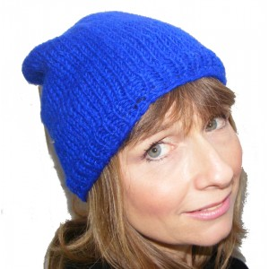 Cool Handknitted Woollen Blue Slouch Beanie Hat with fleece lining ideal for skaters and snowboarders