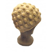 Fair Trade New Style Cream Bobbly Bobble Hat - Fleece lined - Hand Knitted - 100% Fairtrade Wool
