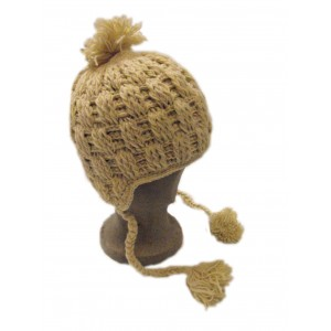 Hand knitted fleece lined Cream Cableknit Woollen Earflap Hat with bobble - fair trade - 100% wool