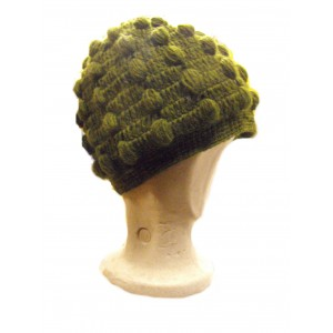 Fair Trade New Style Khaki Green Bobbly Bobble Hat - Fleece lined - Hand Knitted - 100% Fairtrade Wool