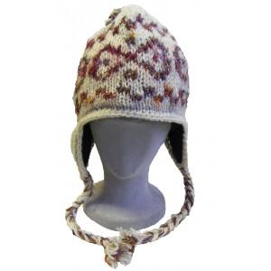 Hand knitted fleece lined Cream woollen earflap hat with reclaimed silk detail - fair trade - 100% wool