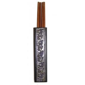 Teak wood chopstcks in elephant decorative hammered metal chopstick holder - 2 pairs of chopsticks