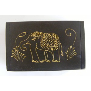 Teak Box with Hand Drawn Golden Elephant Design - Fair Trade