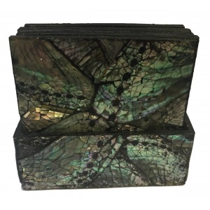 Beautiful Iridescent Paua Shell Coasters from Java - Set of 6 in holder