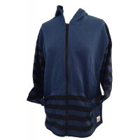 Retro Blue Hoodie with Black Stripes - Fair Trade