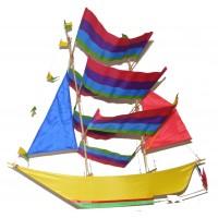 Large Colourful Handmade Sailing Boat / Pirate Boat Kite - Fair Trade