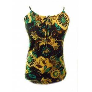 Ethnic Bold Flower Print Blue, Green & Brown Natasha Strappy Top- Fair Trade 100% Cotton