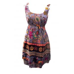 100% Cotton Colourful Purple Elephant Print Hattie Short Sundress - Fair Trade