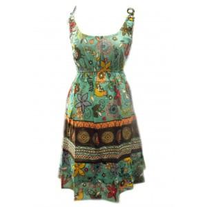 100% Cotton Colourful Turquoise Elephant Print Hattie Short Sundress - Fair Trade