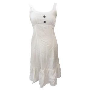 Cream Handloom Cotton Anna Linen Effect Short Dress with Ruffle - Fair Trade