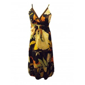 Bold Floral Patterned Dark Chocolate Brown Carmen Summer Maxi Dress - Fair Trade 100% Cotton