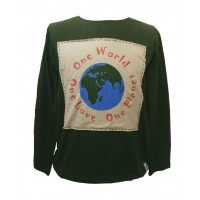 Fair Trade 100% Cotton Green One World One Love One Planet Long Sleeve T Shirt