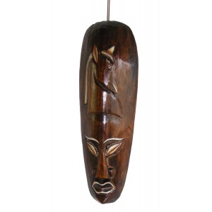 Fair Trade Small Handcarved Wooden 30cm Indigenous ' African Style ' Borneo Tribal 'Horse' Mask