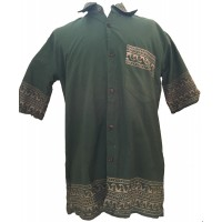 Green Traditional Blockprint Cotton Mens Short Sleeve Shirt - Fair Trade