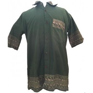 Green Traditional Blockprint Cotton Mens Short Sleeve Shirt - Fair Trade