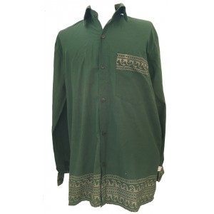 Green Traditional Blockprint Cotton Mens Long Sleeve Shirt - Fair Trade