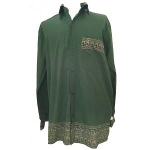 Green Traditional Blockprint Cotton Mens Long Sleeve Shirt - Fair Trade