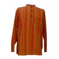 Orange Striped 100% Cotton Collarless Grandad Shirt - Fairtrade