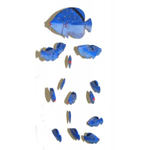 Fair Trade Hand Painted Blue Balinese Kissing Fish Mobile