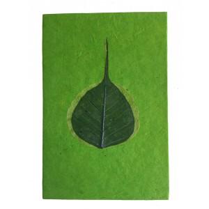 Fair Trade Handmade Nepali Lokta Paper Green Peepal Leaf Notepad