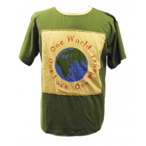 Fair Trade 100% Cotton Green One World One Love One Planet T Shirt