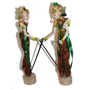 Genuine Traditional pair of Small Rama and Sinta Wayang Golek Rod Puppets