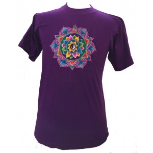Fair Trade Embroidered Yin Yang Mandala T Shirt ( Purple T Shirt)