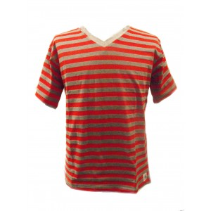 Fair Trade 100% Cotton Classic Stripey Red / Grey Mens T Shirt