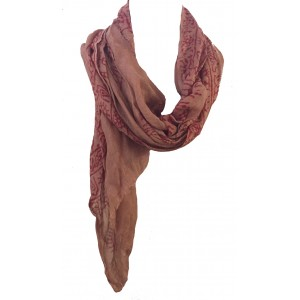Fair Trade Cotton Hand Printed Light Brown Ram Nami Scarf