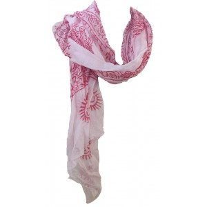 Fair Trade Cotton Hand Printed White Ram Nami Scarf
