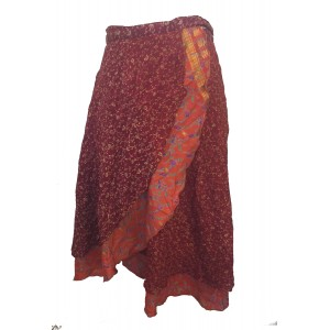 Fair Trade Short Sari Silk  Reversible Wrap Skirt - Mixed Colours & Designs - Best Seller