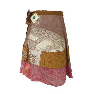 Fair Trade Short Tiered Sari Silk  Reversible Wrap Skirt - Mixed Colours & Designs