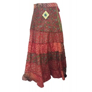Fair Trade Tiered Full Length Sari Silk  Reversible Wrap Skirt - Mixed Designs - Best Seller
