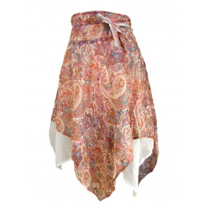 Fair Trade Cream & Pink  Josie Jungli Wrap Skirt